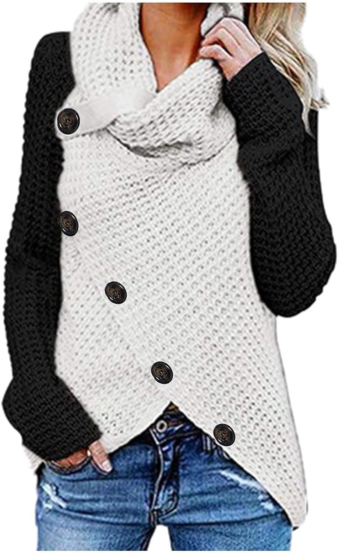 Womens Autumn Turtleneck Tops Fashion Color Block Button Blouses Casual Long Sleeve Knit Sweater Patchwork Sweatshirt