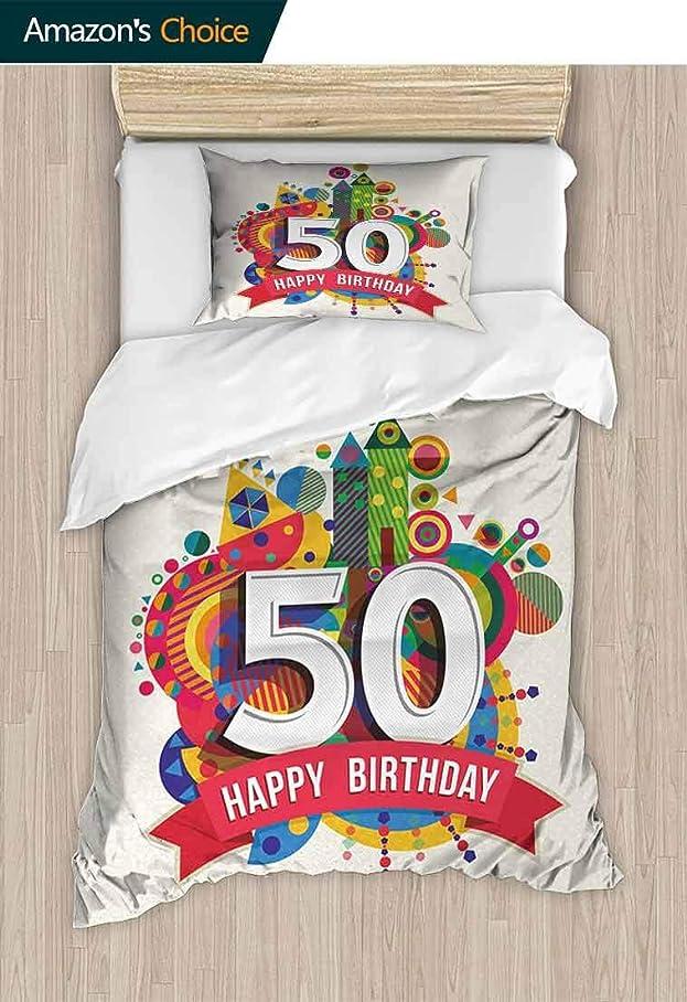 デンマーク漏れ特派員Temox 50歳の誕生日 ヨーロピアンスタイル プリントベッドセット 大きなクリーミーケーキ たくさんのキャンドルと数字 風船 リボンアートプリント コットン100% ベッドスプレッド/キルトセット 2ピース マルチカラー (TWIN)71