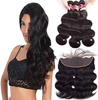 Sky Brazilian Virgin Hair Body Wave 3 Bundles With Lace Frontal Closure (18 20 22+16) Human Hair Bundles With Frontal 100% Human Hair 13x4 Ear To Ear Lace Frontal With Body Wave Bundles Natural Color