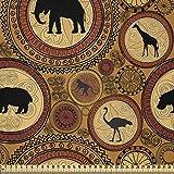 ABAKUHAUS Zambia Tela por Metro, Animales Étnicos Africanos, Microfibra Decorativa para Artes y Manualidades, 1M (230x100cm), El Jengibre Canela Negro