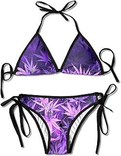 Purple Weed Marijuana Leaf Swimsuits Bikinis Thong Swimsuit for Beach Beach Swimming