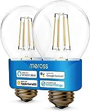 Meross E27 wifi-gloeilamp, werkt met Apple HomeKit, smart retro gloeilamp, gloeilamp, warmwit licht, compatibel met Siri, ...