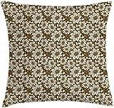 Funda de cojín de almohada marrón y crema, ramo de flores Cosmos sobre fondo en tonos terrosos Patrón femenino, funda de almohada decorativa cuadrada decorativa, crema marrón , (40x40cm / 16 'x16')