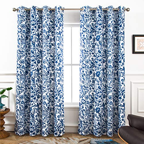 DriftAway Julia Watercolor Blackout Room Darkening Grommet Lined Thermal Insulated Energy Saving Window Curtains 2 Layers 2 Panels Each Size 52 Inch by 84 Inch Navy
