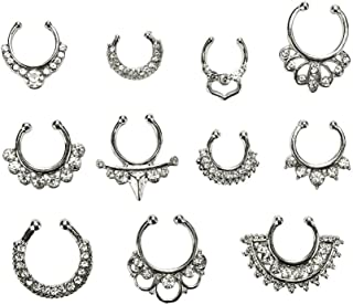Maggie 11Pcs Fake Septum Clicker Nose Ring Rhinestone Non Piercing Hanger Clip Body Jewelry