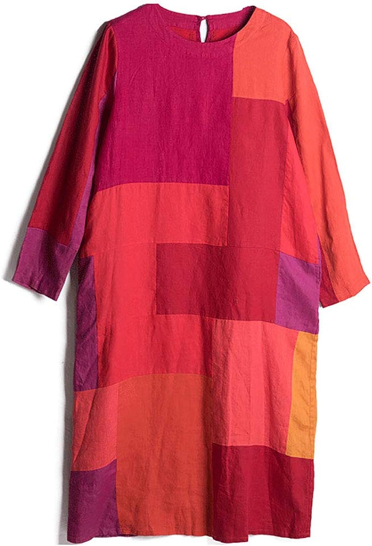 HECHEN Women's dress  spring round neck rainbow color block linen longsleeved vintage skirt