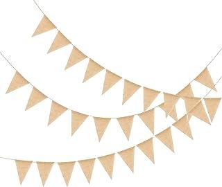 Banner de Guirnalda Arpillera KATOOM,12M/50pcs Banderín de Arpillera, Pancarta de Yute, Decoración Vintage,Banner Triángulo, para Decoración del Hogar,Cafetería,Celebración de Bodas,Ceremonias anuales