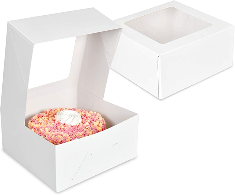 Cake Boxes 10 X 10 X 5 Pack Of 15 White Bakery Boxes With Window Easy To Assemble Great For Cakes Cupcakes Donuts Pies Cookies Pastries Cheesecake Candy Brownies