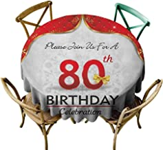 100% Polyester round tablecloth 50 inch 80th Birthday,Birthday Party Invitation with Abstract Floral Backdrop Elderly, Red Silver and Golden Great for Buffet Table, Parties, Holiday Dinner & More