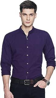 OJASS Men Solid Casual Purple Shirt ()