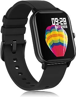 Amatage - Reloj inteligente unisex para teléfonos Android y iPhone. Reloj de seguimiento de actividad física con monitor de frecuencia cardíaca, rastreador de actividad impermeable con monitor de sueño Negro