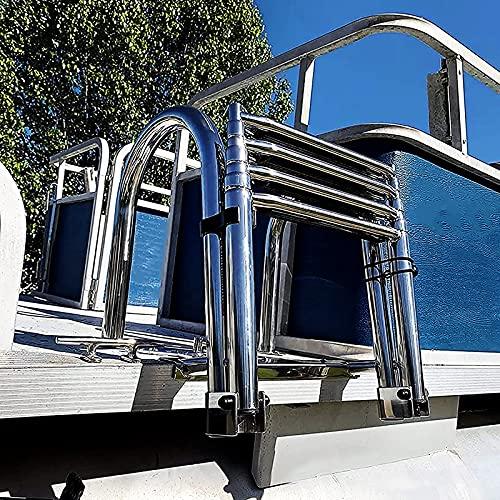 Escalera Barco Escaleras Escaleras para Pontones Plegado en 4 Pasos, Acero Inoxidable Escalera para Barco Interior, Yate Marino Piscina Muelle, Soporta 200 Kg / 440 Libras