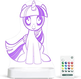 Aloka Twilight Spark My Little Pony Starlight - Color Change 12 Color Pattern LED Decorative Night Light for Kids with Remote