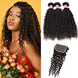 YIROO 9A Brazilian Curly Hair 3 Bundles with 4x4 Free Part Lace Closure 100% Unprocessed Virgin Human Hair Weft Extensions Natural Color (10 12 14+10closure)