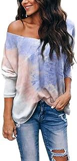GUOCAI Womens Loose Long Sleeve Tops Tie Dye V-Neck Blouse T Shirts