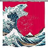 Ofat Home Godzilla and The Great Wave Off Kanagawa Shower Curtain Sets with Hooks, Japanese Hokusai Painting Bathroom Accessories, No Liner Needed, Red Blue, 72x72 inch
