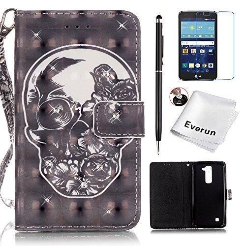 LG K7 Case, LG Tribute 5 Case, Everun Luxury 3D Fashion Handmade Bling Crystal Rhinestone Fashion PU Flip Stand Wallet Leather Case Cover for LG K7 / Tribute 5 - Black Skull
