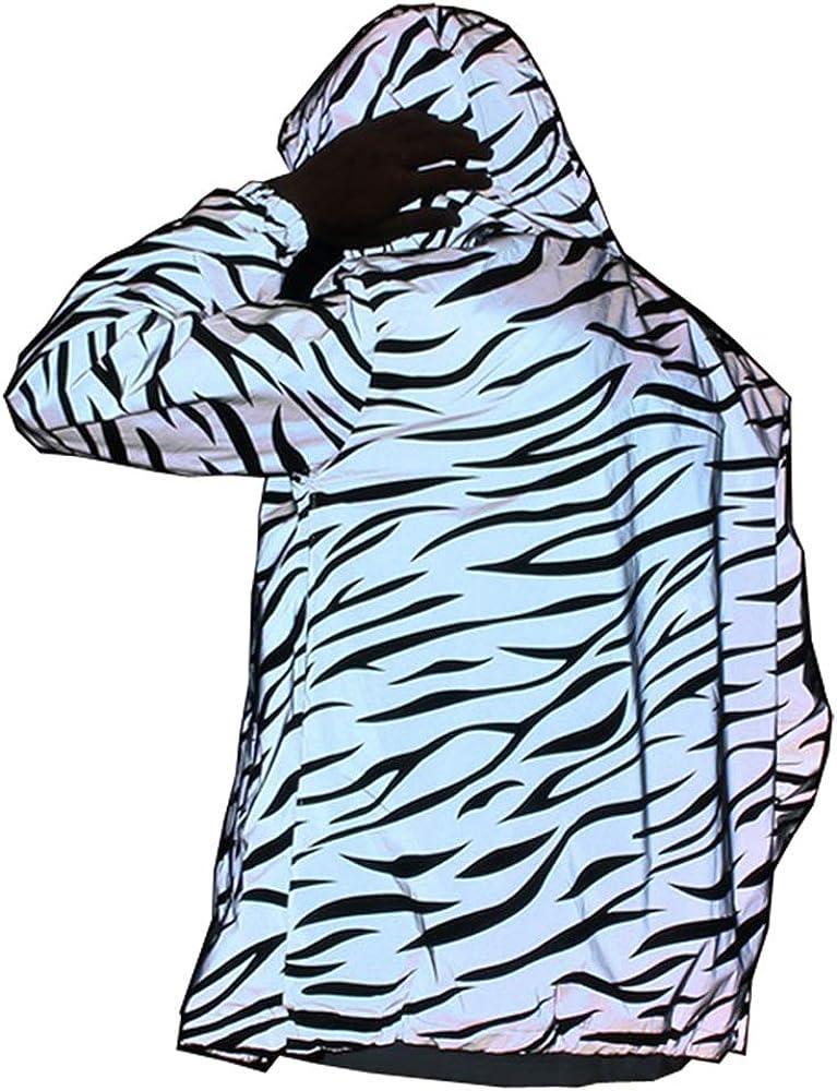 NEWLOPO Reflective Light Jacket Women Mesh Style Noctilucent Zebra Jackets Waterproof
