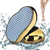 Puikos Nano Glas Hornhautentferner, Upgrade 2in1 Nass&Trocken Hornhauthobel,Hornhaut Entfernung für Fuss&Hand,Sichere Effektive Hornhautfeile Hilfsmittel für Fussfeile für Häusliche Fußpflege(Gold)