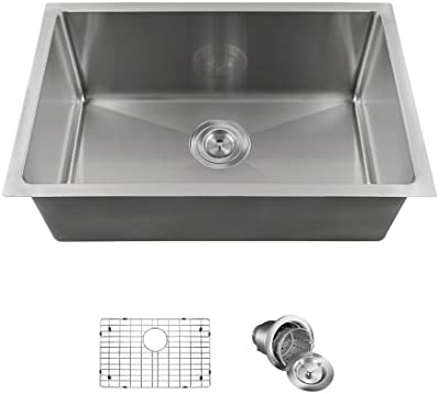"2620S Single Bowl 3/4"" Stainless Steel Sink Ensemble (Bundle - 3 Items: Sink, Grid, Basket Strainer)"