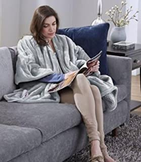 Serta   Wearable Brushed Microfleece Electric Heated Snuggler Wrap Throw with 5 Setting Programable Controller, 50 x 60, Navy