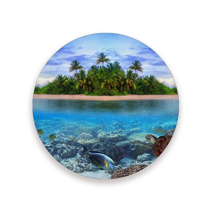追放展示会嫌がるコースター おしゃれ 茶パッド 風景島の海 ヤシの木 魚 カメ 滑り止め エコ 速乾 抗菌 消臭 1枚セット