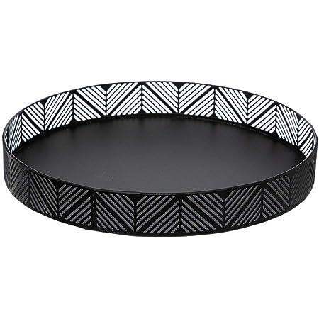 Secret de gourmet - Corbeille Plateau en métal Noir Frise D 30 cm