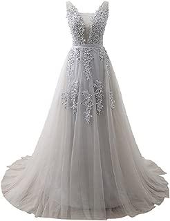 Formal Evening Dresses Deep V-Neck Tulle Burgundy Prom Dresses for Women