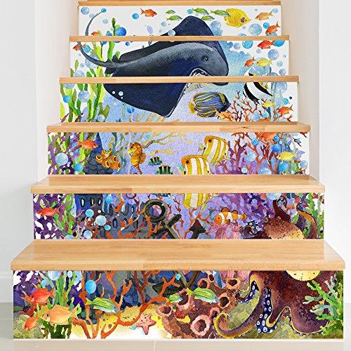 Treer 6 Piezas Pegatinas de Pared PVC, Adhesivo para Azulejos, 3D Impermeables Pegatinas de Escalera Autoadhesivos para Cocina Salón Baño Decoración Hogar (Vida Marina,18x100cm*6piezas)