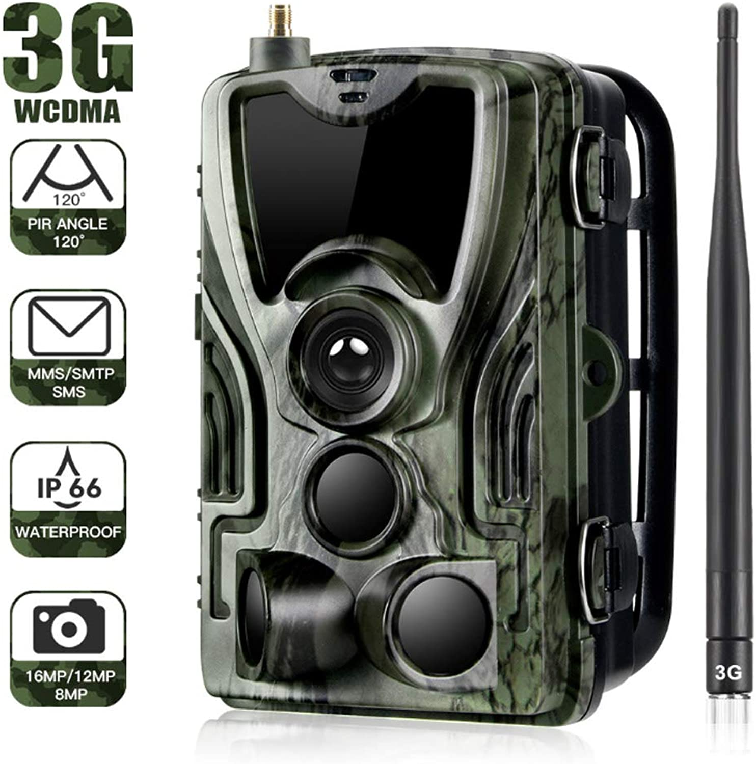 Wildlife Trail Game Camera 16MP 1080P Waterproof Hunting, 120° Detection Range Motion Activated Night Vision LCD 3G Motion Sensor for Wildlife Monitoring