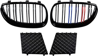Astra Depot for 2003-2010 E60 E61 M Sport Black Front Lower Bumper Grill Covers Left Right Kidney Grille Dual Line M-Color