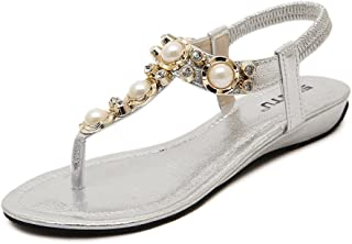 bc1168e6e090d5 DolphinBanana Bohemian Glitter Summer Flat Sandals Prime Thongs Flip Flop  Shoes