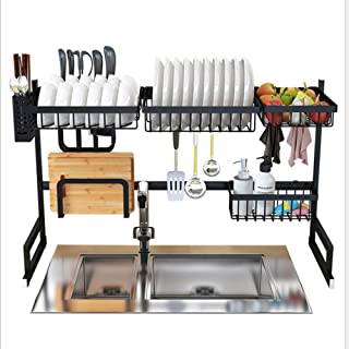 Goolsky Over the Sink Stainless Steel Dish Rack Dish Drainer Drying Dryer Rack Holder with Draining Board Chopsticks Holde...
