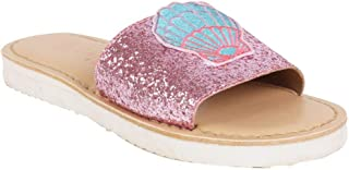 Aria Nica Shell Pink Leather Kids Girl Slide Slippers