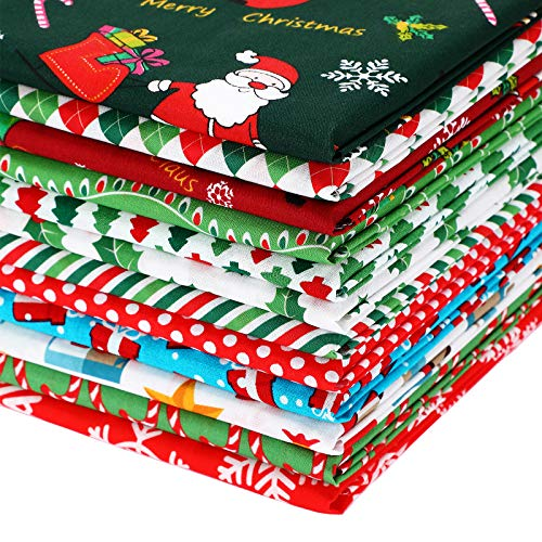 12 Pieces Christmas Fat Quarters Christmas Print Cotton Fabric Christmas Tree Snowflake Fabric Bundles for DIY Crafts Christmas Party Face Protectors Supplies (22 x 18 Inches)