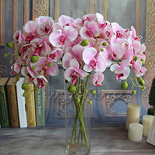 Fangfang Artificial Fake Silk Flower Phalaenopsis Butterfly Orchid Home Office Wedding Decoration (Pink)