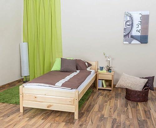 Kinderbett   Jugendbett Kiefer Vollholz massiv natur A15, inkl. Lattenrost - Abmessung 90 x 200 cm