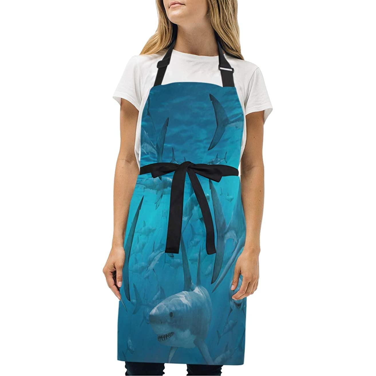 HJudge Womens Aprons Sharks are Kitchen Bib Aprons with Pockets Adjustable Buckle on Neck