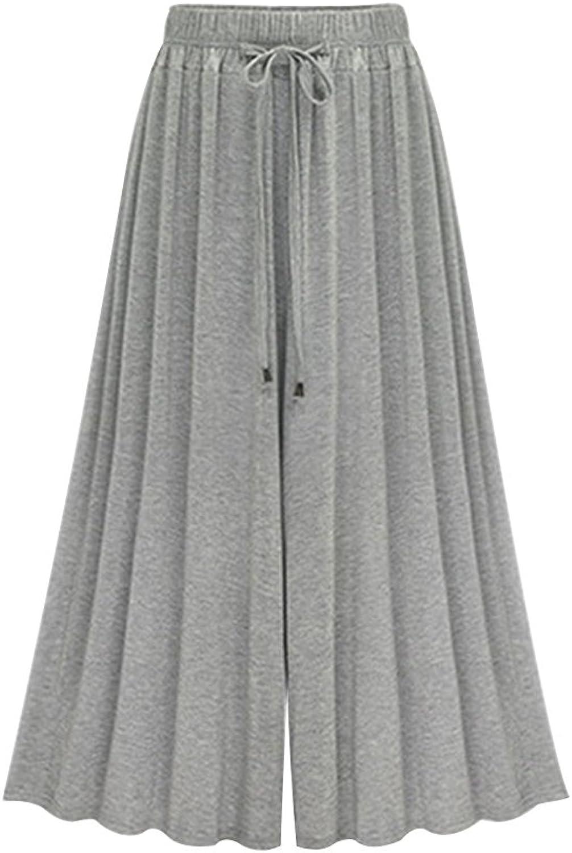 Gooket Women's Elastic Waist Modal Jersey Wide Legs Cropped Culotte Pants
