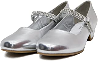 955fad14c72 Ychen Kids Girls Low Heels Wedding Bridesmaid Shoes Dress Shoes with  Rhinestones