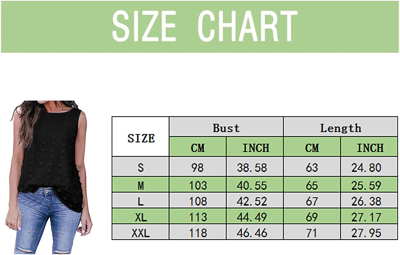 Womens Tank Tops, Women'S Chiffon Dot Blouses Round Neck Sleeveless Vest Shirts Vintage Elegant Summer Tunic Tops