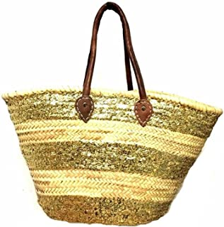 Straw & Sparkling Gold Shopping French Market Basket Moroccan Shoulder Tote XL