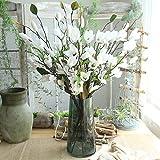OHQ-Fausse Fleur Decoration Neuf TêTes Magnolia Atterrissage Artificielle Blanche Bleu Rose A Suspendre avec Vase (D, 1paquet- 9La tête)