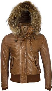 Aviatrix Men's Real Leather Fashion Bomber Jacket with Detachable Hood (QS6C)