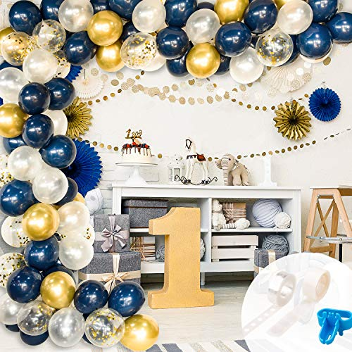 Whaline Balloon Arch & Garland Kit, 100Pcs Metallic, Gold Confetti, White and Navy Blue Latex Balloons with Tying Tool, Balloon Strip Tape, Glue Points and Instruction for Wedding Party Birthday
