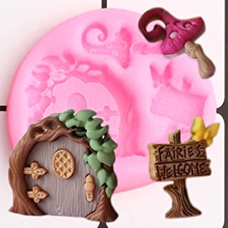 1pc Fairy Garden Door Mushroom Silicone Mold for DIY Soap Mould Gum Paste Handmade Cupcake Cake Topper Decoration Candy Pudding Ice Cube Crystal Fondant Mold Desserts Chocolate Jelly Shots