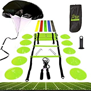 Premium Speed Agility Training Set Equipment Kit Includes Ladder, 10 Cones with Holder, Running Parachute, Jump Rope, Resistance Bands - Football, Soccer, Basketball, Hockey Training Athletes