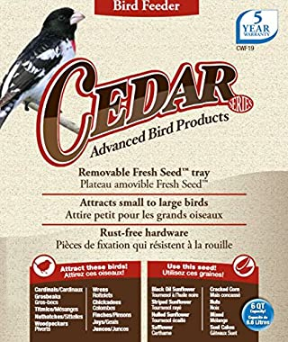 Nature's Way Bird Products CWF19 Cedar Hopper Bird Feeder with Suet Cage, 6-Quart