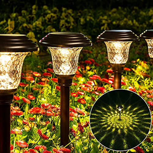 GIGALUMI 8 Pack Solar Pathway Lights, Solar Garden Lights Outdoor Warm White, Waterproof Led Path Lights for Yard, Patio, Landscape, Walkway (Brown)