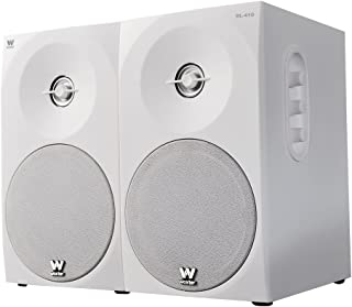 Woxter Dynamic Line 410 – Altavoces estéreo 2.0 Autoamplificados con 150W de potencia, Madera, Woofer de 4 pulgadas, 2 Tweeter, 3.5 mm, RCA, Control volumen, agudos, graves, Bookself Speakers, Blanco